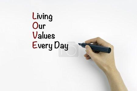 Photo pour Main avec marqueur écrit : AMOUR - Vivre nos valeurs tous les jours - image libre de droit