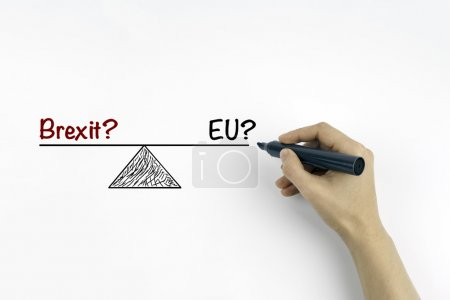 Hand with marker writing - Brexit? and EU? referring to the upco