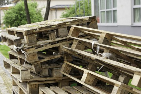 Cargo pallets stacked in the park