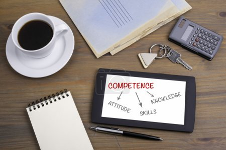 Diagram of competence. Text on tablet device on a wooden table