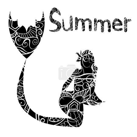 Hand drawn black mermaid silhouette vector illustration