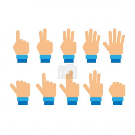 Illustration for Set of fingers showing numbers vector - Royalty Free Image