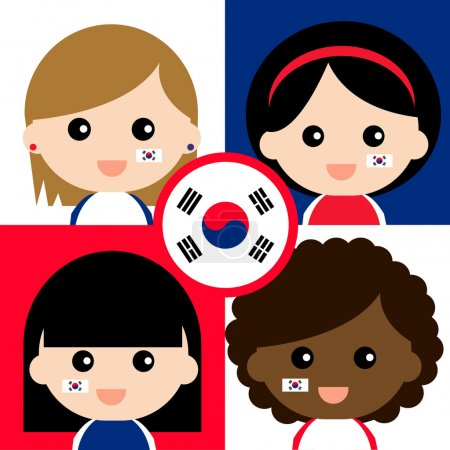 Group of happy Korea's supporters