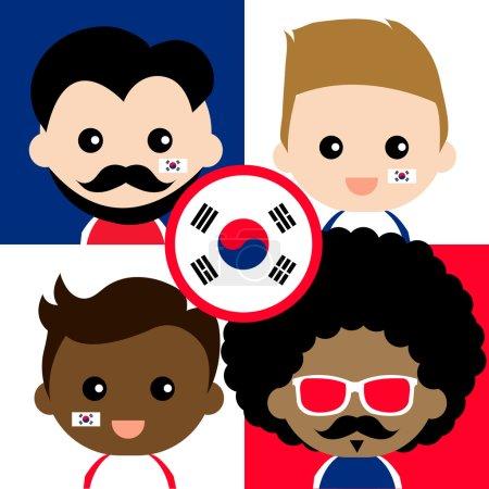 Illustration pour Groupe de sympathisants heureux de la Corée illustration vectorielle - image libre de droit