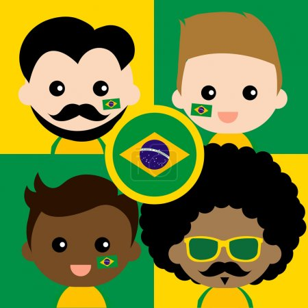 Group of happy Brazil supporters