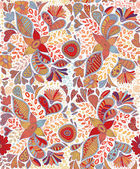 Seamless pattern with flowers and butterflies in white background