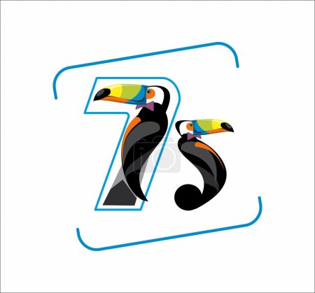 Illustration for Toucan, bird, vector, drawing, figures, animals, birds figures, numbers, animals, 75, 7, 5, logo, image, multicolored, multicolored, cheerful, joyful, child, smiling, chick, date, jungle,woodpecker, large woodpecker, America, South - Royalty Free Image