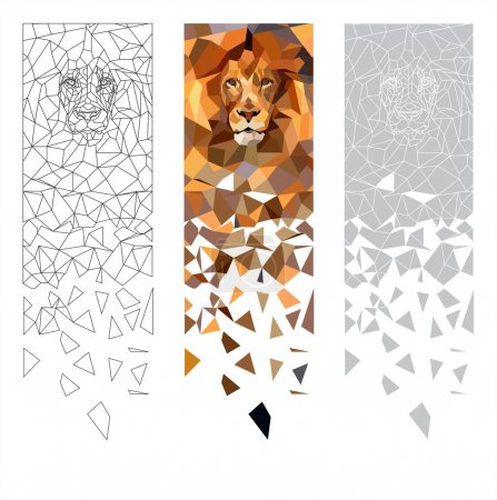Illustration for Animal, corporate image, cubism, hunter, king, lion, lion mascot, the mascot for the team, the face of a lion, a picture of a lion, predator, sports logos, sports team logos, vector, bookmark, modular picture, pictures, wallpapers, sticker , drawing, - Royalty Free Image