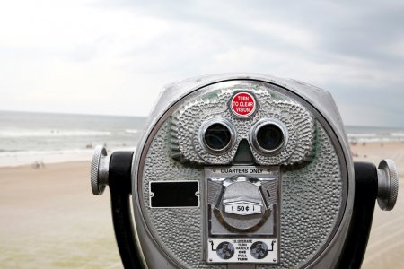 Photo for Coin operated binoculars are a staple at this beach. - Royalty Free Image