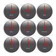 Grey clocks with glossy area showing world time, t...