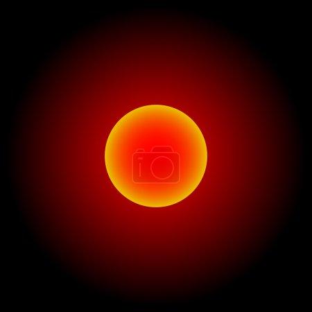 Red shinning sun; Pluto; Jupiter; Charon; Moon; Dwarf planet; New Horizons