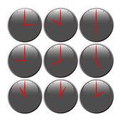 Grey clocks with glossy area showing world time the red pointer