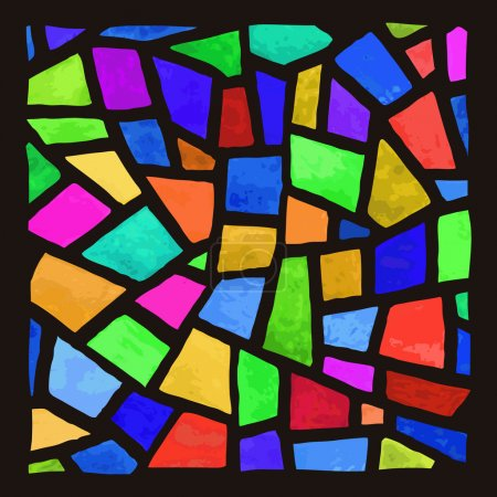 Illustration for Vector stained-glass window. Watercolor handmade. - Royalty Free Image