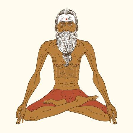Old indian yogi man.