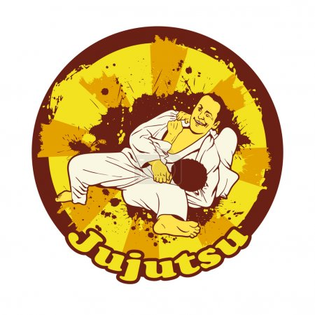Colorful vector illusnration with Brazilian Jiu Jitsu Fighters.
