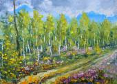 Original oil painting Beginning of autumn in the forest