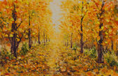 Autumn landscape, beautiful park on painting. Golden autumn.