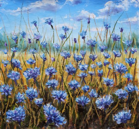 Flower Field. Blue flowers in meadow. Blue sky. Oil painting.