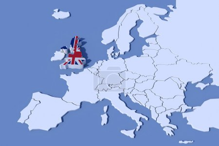 Europe carte 3d couleurs du drapeau britannique de secours