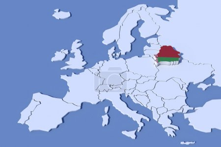 Photo pour Europe Carte 3D Relief Belarus couleurs du drapeau - image libre de droit