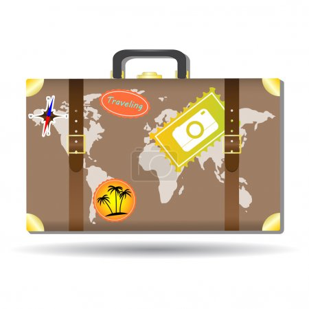 Traveling bag with stickers and world map