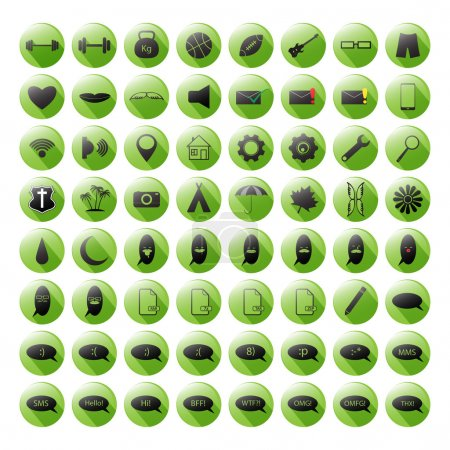 Set of the green icons for your site or mobile apps