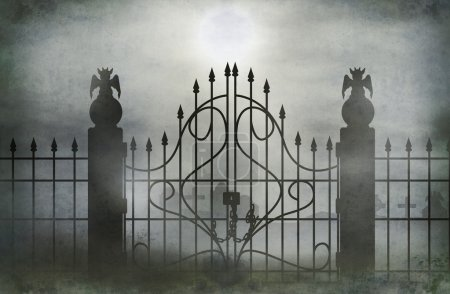 Photo for Cemetery gate with fog  wide. - Royalty Free Image