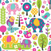 Illustration of cute elephants ladybugs birds and butterflies among colorful trees and flowers