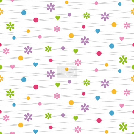 Illustration for Violet pink green blue yellow and red hearts flowers and dots illustration on white background - Royalty Free Image
