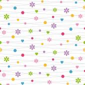 Violet pink green blue yellow and red hearts flowers and dots illustration on white background