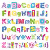 Illustration of colorful polka dot striped and plaid patterned alphabet on white background