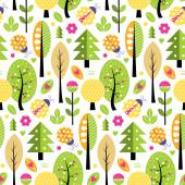 Illustration of seasonal fall trees leaves flowers hearts and ladybugs on white background
