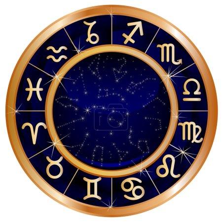 Gold blue zodiac circle