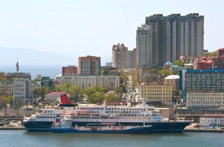 Bunkering tanker Zaliv Vostok passenger ship Nippon Maru in port Vladivostok. East (Japan) Sea. 22.05.2015