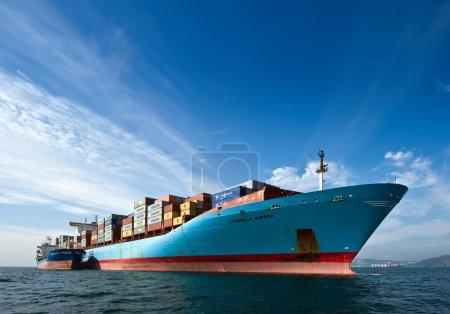 Bunkering tanker Vitaly Vanykhin container ship Cornelia Maersk . Nakhodka Bay. East (Japan) Sea. 17.09.2015