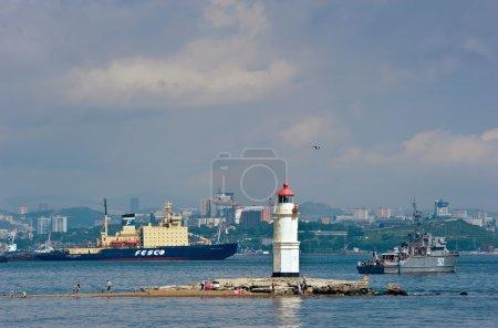 Vladivostok. Russia. 02.09.2015: Tokarev lighthouse. Vladivostok. Russia. 02.09.2015