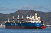 Nakhodka Bay. East (Japan) Sea. 04 October 2015: Bunkering tanker Leda DV bulk carrier Elizabeth River.