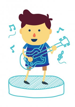 Illustration for Boy cartoon made music with singing and play electronic guitar on isolated background - Royalty Free Image