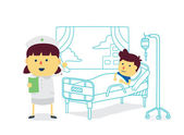 Nurse therapist with boy patient to recover quickly in patient room of hospital