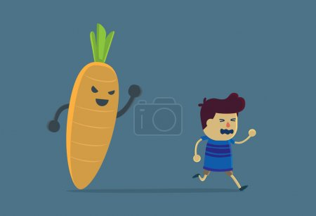 Little boy run away from carrot.