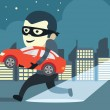 Man in mask make crimes with trying to steal a car...