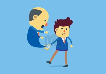 Illustration pour Subordonné a un appel entrant pour réprimander le patron avec émotion - image libre de droit