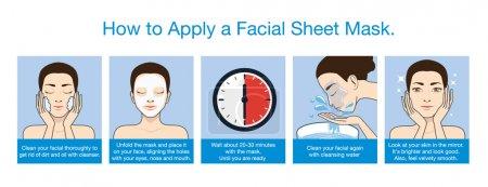 Step apply facial sheet mask
