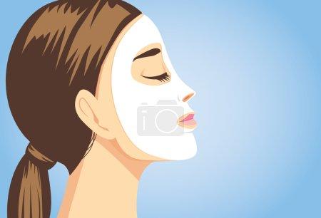 Beauty woman facial sheet mask side view