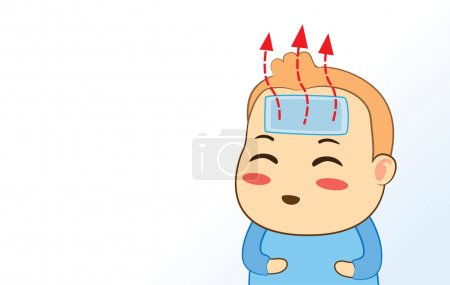 Illustration for Cooling in baby be ill with paste cooling pad on forehead - Royalty Free Image