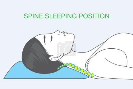 Illustration pour Forme de la colonne vertébrale humaine dans le sommeil qui affectent la santé du dos - image libre de droit