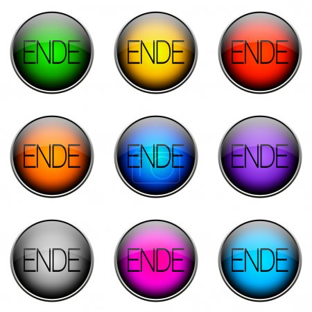 Photo pour Boutons colorés avec différents thèmes. Bouton couleur Ende - image libre de droit