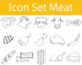 Drawn Doodle Lined Icon Set Meat