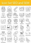 Čerpat Doodle vložkou sada ikon, Seo a Sem