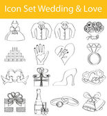Drawn Doodle Lined Icon Set Wedding & Love